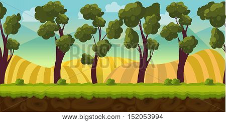 Seamless background trees and hills.Background for games apps or mobile development. Cartoon nature landscape with forest. Vector illustration for design graphics print or book . Stock illustration.