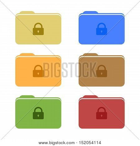Colorful Set of Secure or Locked Icons