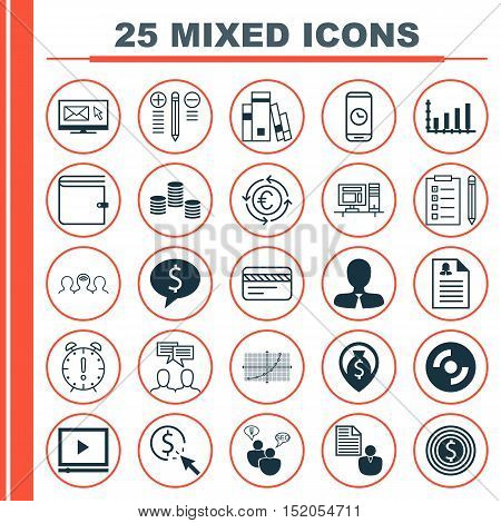 Set Of 25 Universal Editable Icons For Computer Hardware, Airport And Business Management Topics. In