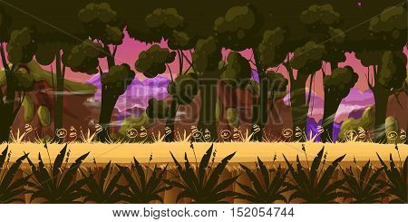 Mystery Dark Forest Background for games apps or mobile development.Cartoon nature landscape. Night forest . Vector illustration for your design
