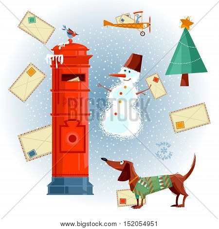 Vintage Mailbox dachshund snowman and letters to Santa. Christmas greeting card. Vector illustration.