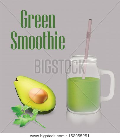 Green vegetable smoothie and jar with handle