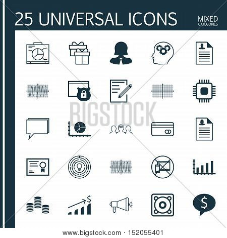 Set Of 25 Universal Editable Icons For Project Management, Education And Advertising Topics. Include
