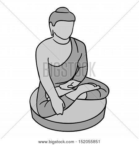 Sitting Buddha icon in monochrome style isolated on white background. South Korea symbol vector illustration.