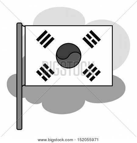 Flag of South Korea icon in monochrome style isolated on white background. South Korea symbol vector illustration.