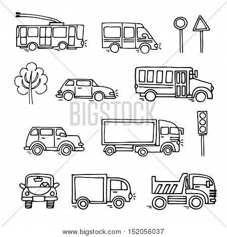 Sketch urban transportation vector set icons. Ground  transportation