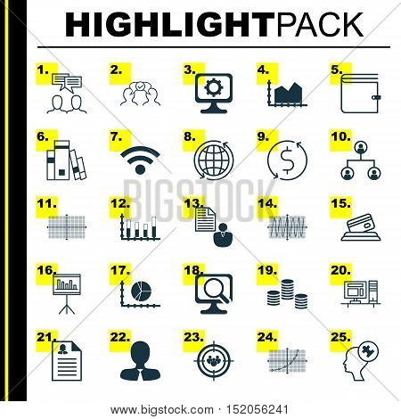 Set Of 25 Universal Editable Icons For Advertising, Statistics And Computer Hardware Topics. Include