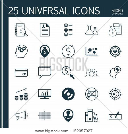 Set Of 25 Universal Editable Icons For Education, Business Management And Project Management Topics.