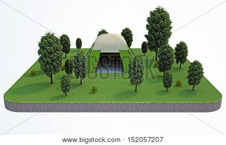 3d rendering. tent in the forest. top view
