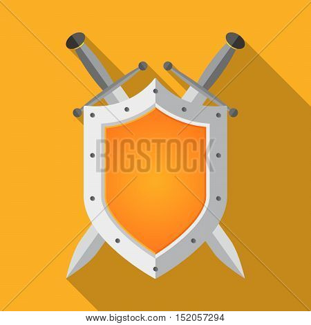 Shield and swords in flat design. Shield and sword icon with long shadow. Vector illustration.
