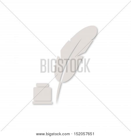 Feather with ink sign icon on white background