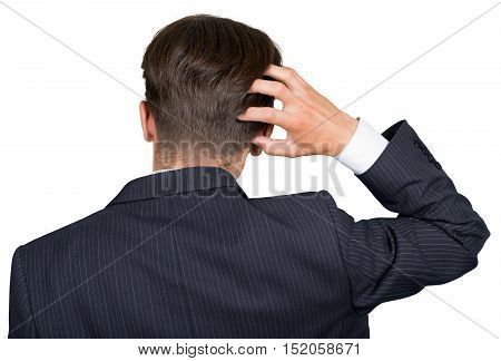 Portrait of a Businessman Scratching his Head, Back View