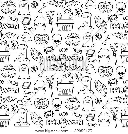 Seamless pattern with Halloween coloring patches. Pin badges set background. Black and white stickers wallpaper. Textile print for clothes.