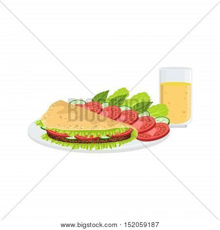 Omelet With Vegetables And Juice Breakfast Food And Drink Set. Morning Menu Plate Illustration In Detailed Simple Vector Design.