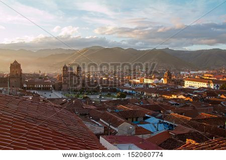 view on the inca-capital cuzco during sunrise