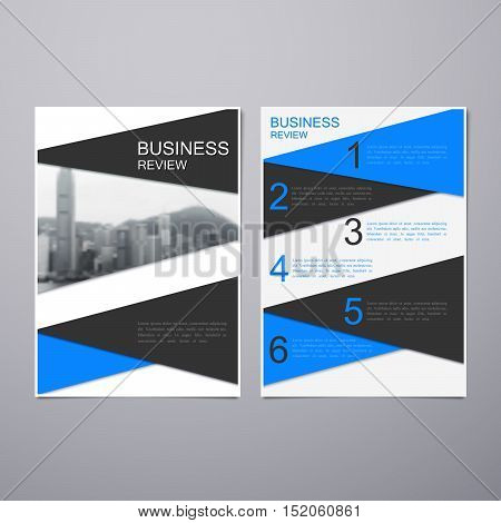 Business Review Leaflet. Brochure or Flyer A4 size template design. Book cover layout design template. Abstract business presentation template with Hong Kong cityline