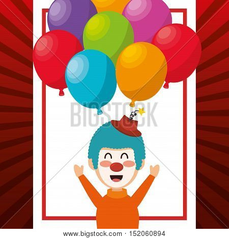 clown smiling cartoon circus character with balloons over white background. colorful design. vector illustration