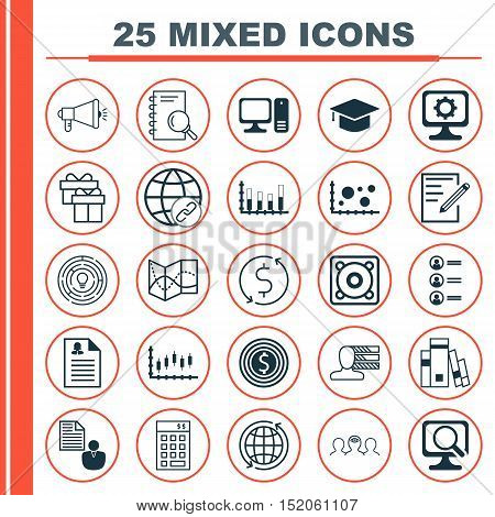 Set Of 25 Universal Editable Icons For Marketing, Advertising And Education Topics. Includes Icons S