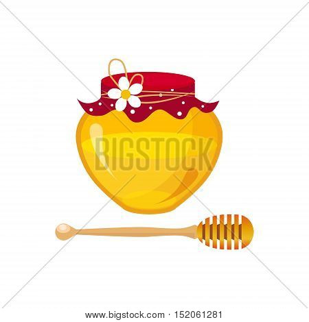 Honey Breakfast Food Element Isolated Icon. Simple Realistic Flat Vector Colorful Drawing On White Background.