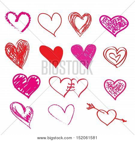 Hand-drawn sketch hearts for Valentines Day design. Vector illustration.