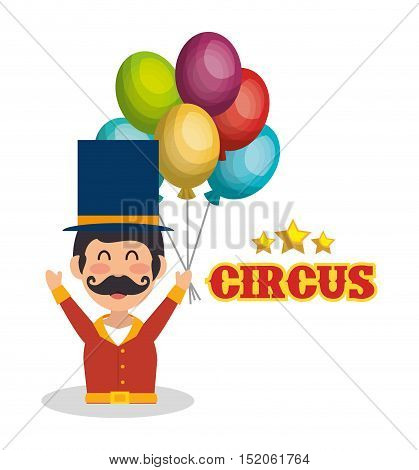 avatar happy man announcer circus festival with balloons over white background. colorful design. vector illustration