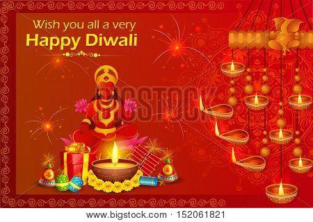 vector illustration of Goddess lakshmi sitting on lotus for Happy Diwali holiday of India