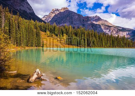 Mountain Emerald lake. The smooth turquoise water in sunny day in autumn. The concept of eco-tourism and active recreation. Canada, Yoho National Park