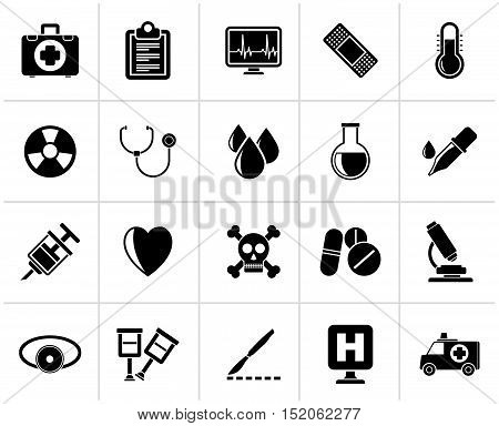 Black medical tools and health care equipment icons  - vector icon set