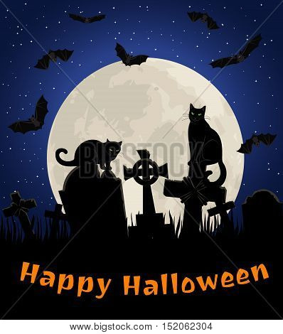 Halloween card with black cats and bats in cemetery