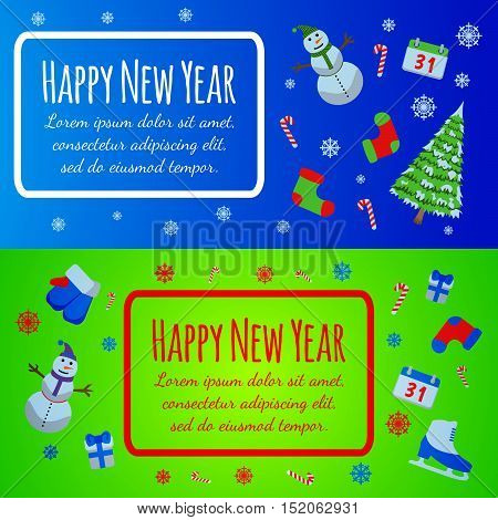Happy New Year Banner. Merry Christmas Giftcard.xmas Poster With Snowman, Pine, Skates, Gift, Mitten
