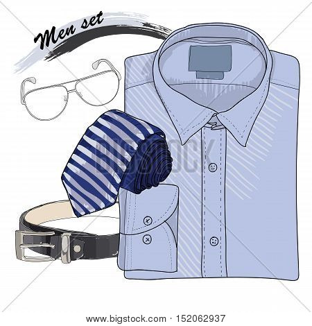 Vector illustration of Hand drawn, doodle coordination shirt with band, tie, spectacles and belt. Men set on white background. Classical style. Template for brochure, journal, flayer