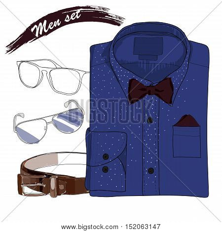 Vector illustration of Hand drawn, doodle coordination folded shirt , the bow tie, spectacles and belt. Men set on white background. Classical style. Template for brochure, journal, flayer