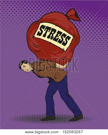People in stress situations concept vector illustration in retro pop art style. Man carrying big bag with stress sign. Comic design.