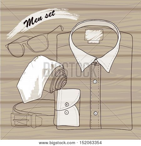Vector illustration of Hand drawn, doodle coordination shirt, tie, spectacles and belt. Men set on wood background. Hipster, natural style. Template for brochure, journal, flayer