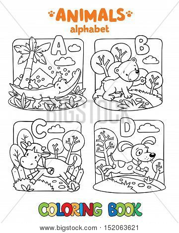 Coloring book or coloring picture of funny alligator, bear, cow and dog. Animals zoo alphabet or ABC.