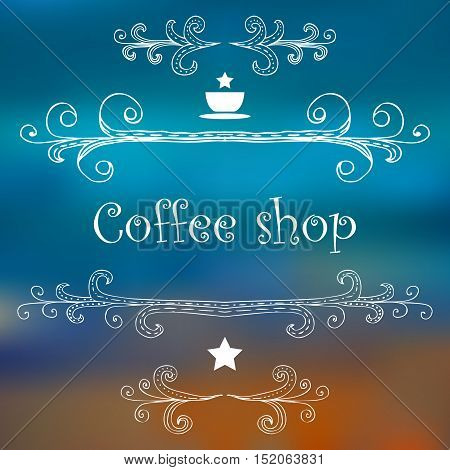 Vintage Coffee Shop card with monograms and lettering. Vector illustration.