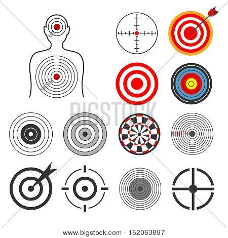 People, animals, dart, silhouette shooting target vector set. Goal and center aim, success concept illustration