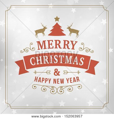 merry christmas and happy new year postcard background. Vector holiday line art greeting card on blurred winter silver backdrop with snowflakes and stars.