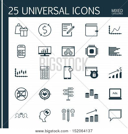 Set Of 25 Universal Editable Icons For Project Management, Human Resources And Marketing Topics. Inc