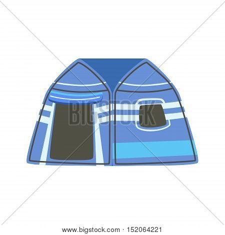 Stripy Blue Bright Color Tarpaulin Tent. Simple Childish Vector Illustration Isolated On White Background