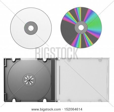 3D Cd Cover Open With Cd On White Background