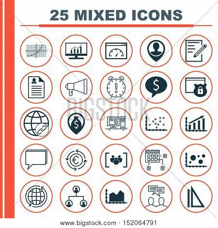 Set Of 25 Universal Editable Icons For Airport, Project Management And Statistics Topics. Includes I