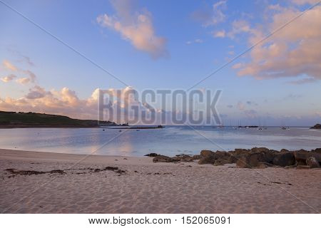 Porthcressa Beach at dawn, St Mary's, Isles of Scilly, England