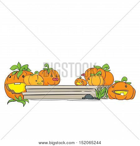 Cute pumpkin character on the porch isolated on the white background. Halloween party hand drawn sketch. Fun colorful illustration for t-shirt print, banner, flyer, poster design