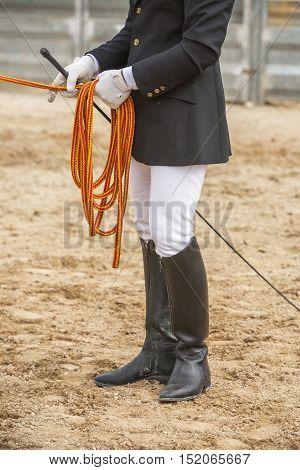 Equestrian test of morphology to pure Spanish horses Detail of whip and ropes for dressage horses Spain