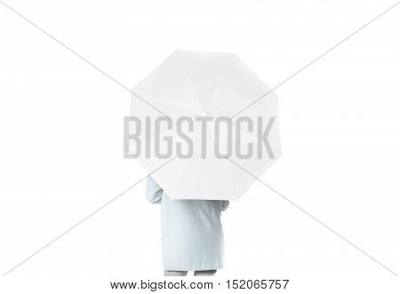 Women stand backwards with white blank umbrella opened mockup, clipping path. Female person hold clear umbel overhead. Plain surface gamp mockup. Man holding protective accesory gingham cover handle.