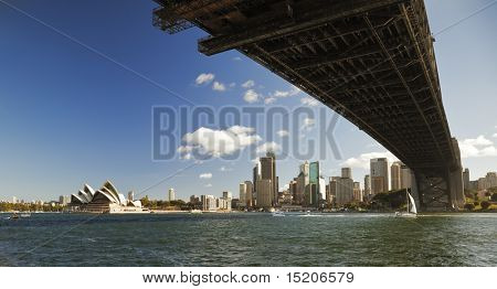 A photography of the Harbour Bridge in Sydney with Opera House