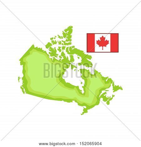 Map And Flag As A National Canadian Culture Symbol. Isolated Illustration Representing Canada Famous Signature On White Background