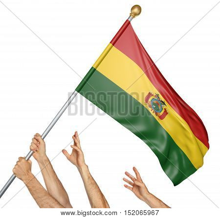 Team of peoples hands raising the Bolivia national flag, 3D rendering isolated on white background