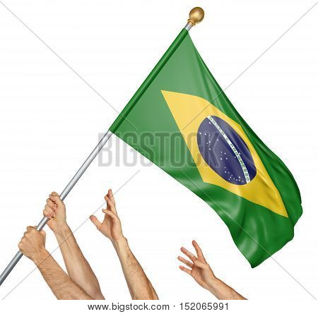 Team of peoples hands raising the Brazil national flag, 3D rendering isolated on white background